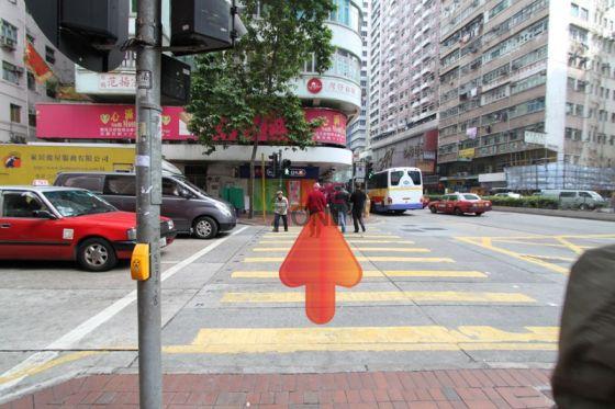 到第二條馬路後,前行後轉左